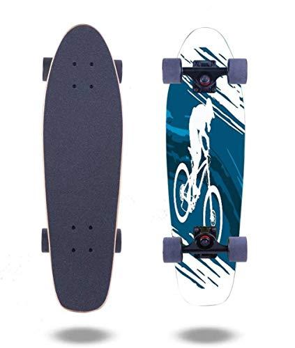 "OPNERLKNC Cruiser Skateboards Silhouette of a Cyclist Riding a Mountain Bike 27""x7.5"" 7 Layer Canadian Maple Complete Standard Short Skateboard for Boys Beginners Girls Kids Teens Adults"