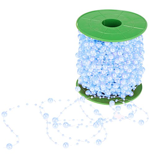 D DOLITY 60m Colourful Faux Pearls Acrylic Beads String Garland Party Wedding Baby Shower Table Decor - Blue, 60m