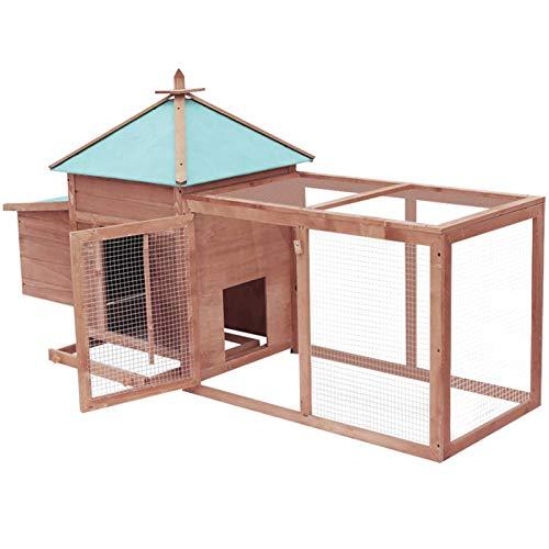 Montloxs Pollaio grande gabbia per galline coniglietto in legno all'aperto conigliera gabbia per galline con porta di ventilazione con scatola per il nido moka 193x68x104 cm in legno massello di abete