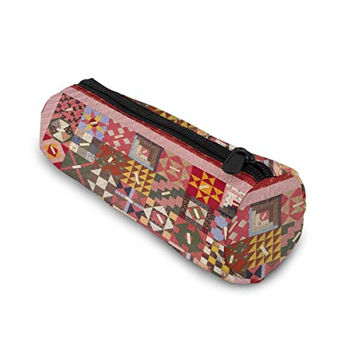 RTBB Federmäppchen, zylinderförmig, mit Reißverschluss, antike Quilt-Muster, Kosmetiktasche, Münzbeutel