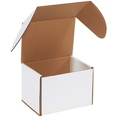 Boxes Fast BFMEZ765 Outside Tuck Top Shipping Boxes, 7 5/8 x 6 x 5 7/16 Inches, Corrugated Cardboard Die-Cut Mailers, Small White Mailing Boxes (Pack of 25)