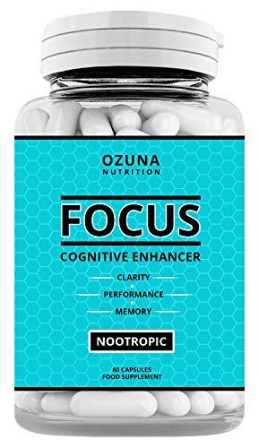 Focus Cognitive Enhancer Nootropic Brain Supplement & Stimulant for Energy, Focus, Memory & Mental Performance | Best Natural Cognitive Enhancer | 60 Capsules
