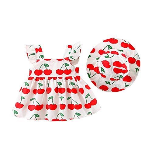 Julhold Babykleidung Set Baby Mädchen Kleidung Outfit 2-teiligeskinder Fliegen Ärmel Kirschdruck Kleid + Hut Sommer Bekleidung Set Größe 70-100(Rot,100)