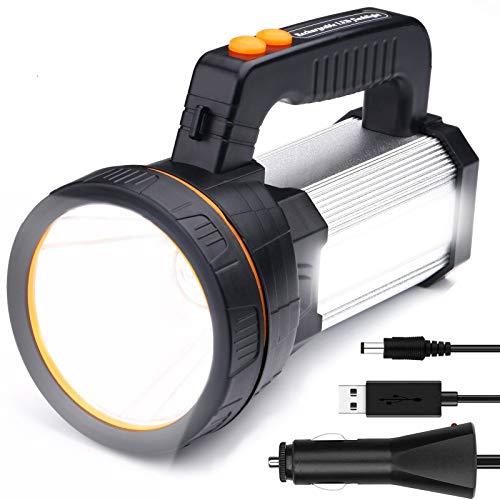 LED Handscheinwerfer Wiederaufladbar, Super Hell 7000 Lumen Led Taschenlampe, 6 Modi Wasserdicht Led-taschenlampen für Outdoor, Abenteuer, Wandern, Notfall, mit Akku (Silber)