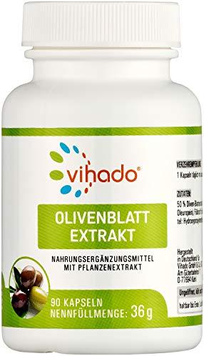 Vihado Olivenblatt Extrakt – wertvolle Pflanzenstoffe mit Oleuropein – hochdosierter Superfood Extrakt – natürliches Nahrungsergänzungsmittel ohne künstliche Zusätze – 90 Kapseln