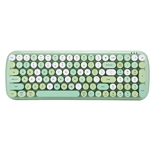 Wireless Keyboard, Bluetooth 5.1 Connection Ergonomic Design Keyboard, Cute Round Retro Typewriter Keycaps for PC, Laptop, Tablet, Mobile Phone Green (Caramelo-Verde)