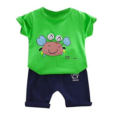 Baby Bekleidungsset,Baby Kleidung Set Sommer Babykleidung Kinder Jungen Mädchen Cartoon Baumwolle T-Shirt Tops + Shorts Schlafanzug Outfits Set (80, Grün 2)