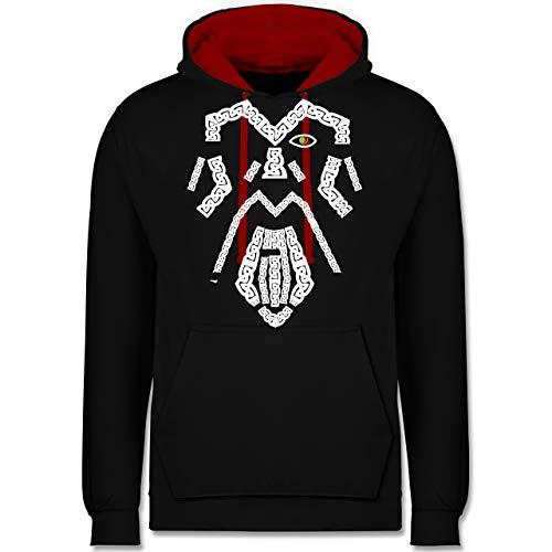 Shirtracer Nerds & Geeks - Wikinger Odin grün - 3XL - Schwarz/Rot - Wikinger - JH003 - Hoodie zweifarbig und Kapuzenpullover für Herren und Damen