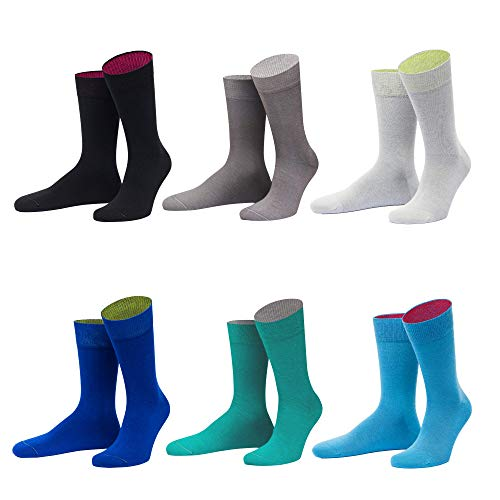 von Jungfeld - Herren Socken / Strumpf Herrensocken 6er-Pack gemischte Farben (grautöne, blautöne, numeric_43)