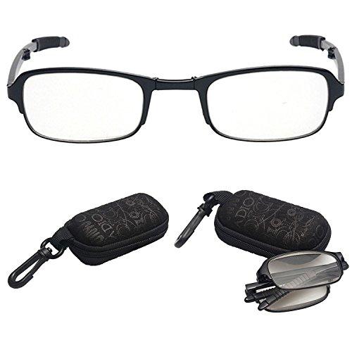 2 Paar Faltbare Lesebrille,lala Pink Tragbare Schwarze Kompakte Faltbare Unisex Brille Zum Lesen mit Fall für Herren/Damen