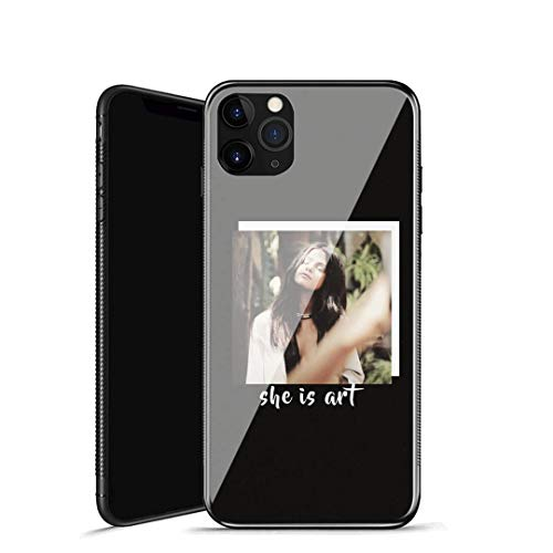 RUIWEI Custodia per Telefono iPhone 7/8,P-59 Selena Gomez Design in Vetro temperato e Cornice del paraurti in Morbida Gomma siliconica per Assorbimento AntiGraffio e AntiGraffio