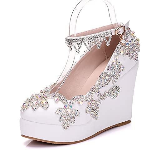 Zapatos De Boda para Mujer Cuñas, Plataforma Tacones Altos Diamantes De Imitación...