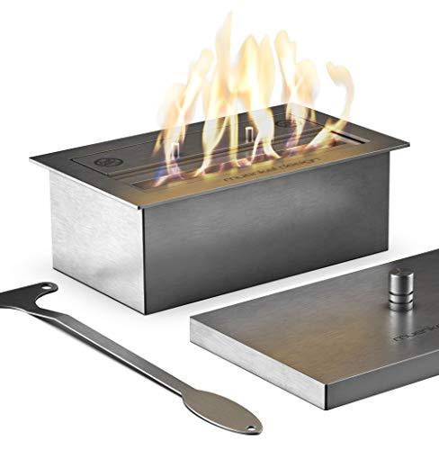 muenkel design Safety Burner 290 – manueller Brenner Einsatz – Bio-Ethanol Brennkammer mit 22 cm Flammenbreite – Edelstahl, gebürstet