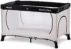 Hauck Dream'n Play Plus - Cuna de viaje 3 piezas, 120 x 60 cm, de 0 meses hasta 15 kg, con bolsa de transporte, apertura lateral, plegable, ligera y estable - beige