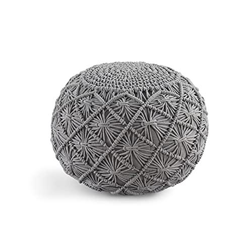 Casa Platino Hand Knitted Grey Pouffe