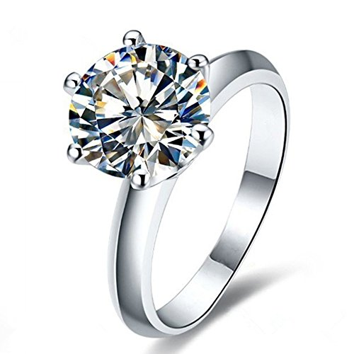 AINUOSHI 2 Ct CZ Solitaire Engagement Ring Sterling Silver Cubic Zirconia White...