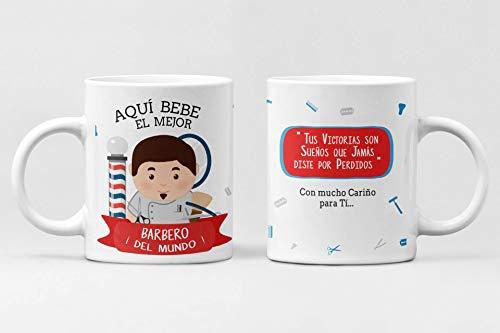 Taza Profesiones. Taza de cerámica Aqui Bebe el Mejor. Abogado, administrativo, Arquitecto, Bombero, Cantante, Chef, Contador, diseñador, Doctor, economista. (BARBERO)