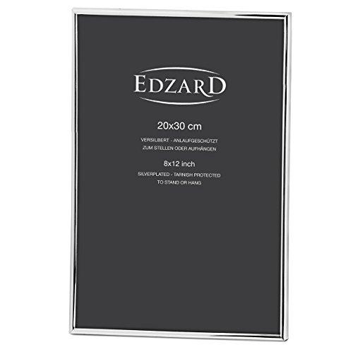 EDZARD Fotorahmen Bilderrahmen Genua für Foto 20 x 30 cm, edel versilbert, anlaufgeschützt, 2 Aufhänger