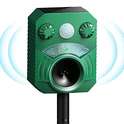 Katzenschreck Solarbetriebener, USB Lade Ultraschall Marderschreck wasserdicht mit LED-Licht Marderabwehr zum Garten / Hof, wirksam gegen Katzen, Hunde, Vögel, Füchse, Ratten, Marder