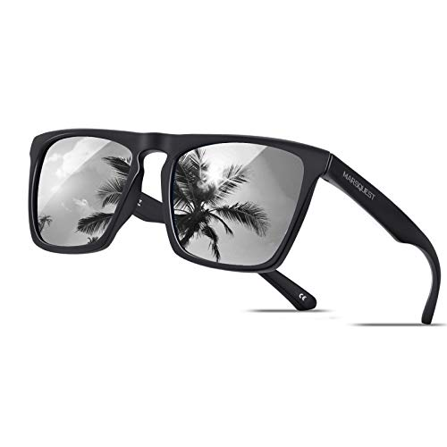 Polarized Sunglasses for Men Women, Anti-Slip Sport Sunglasses UV 400 Protection (Black Frame & Silver Lens)