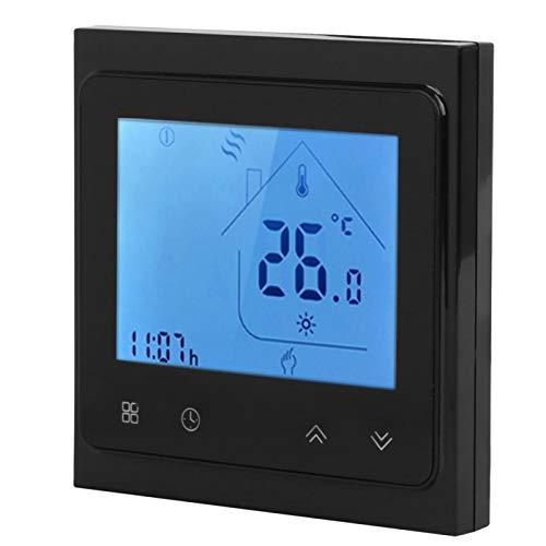 Termostato de calefacción, dispositivo de control de temperatura de bajo consumo, práctico montaje en pared programable de alta precisión para el control de temperatura de(black)