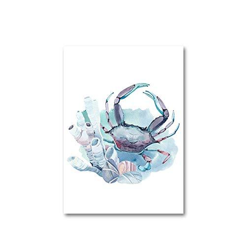 YWOHP Lienzo de Estilo nórdico, Pintura de Animales Marinos, decoración Familiar, Arte de Pared, Cuadro Modular, póster de Acuarela para habitación de niños-40x60cm_No_Framed_5
