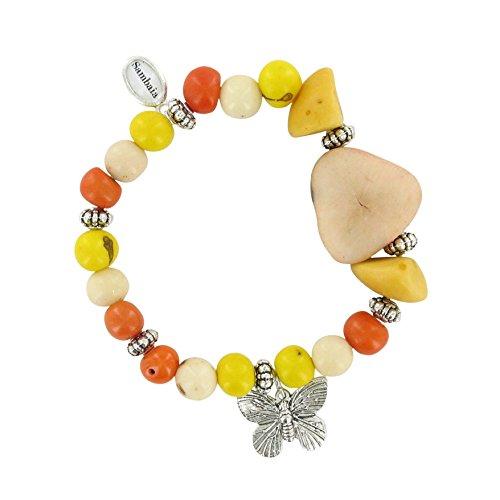 Sambaia Armband aus Acai, Jarina Scheibe, Schmetterling, in mehreren Farben erhältlich, original, gelb