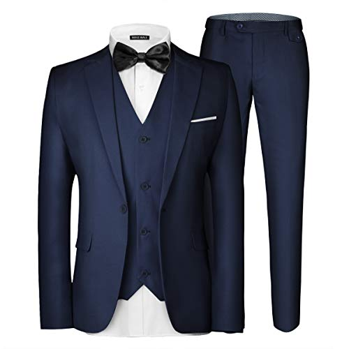 MAGE MALE Men's 3 Pieces Suit Elegant Solid One Button Slim Fit Single Breasted Party Blazer Vest Pants Set Dark Blue