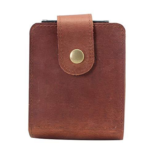 boshiho Spielkartenetui, Leder Doppelkartendeckhalter Box(Brown)