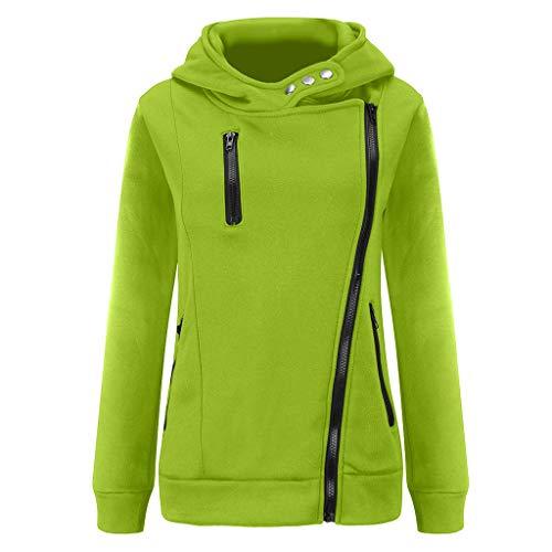 Tyoby Sweat Original Femmes Hoodie Zippé Col Haut Casual Sweatshirt à Capuche Sweat-Shirt Basique Pull à Manches Longues Sportswear Top Hooded Blouse Jacket Automne Hiver(Menthe Verte,M)