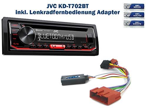Autoradio JVC KD-T702BT geeignet für Mazda 2 | 5 | MX-5 inkl. Lenkrad Fernbedienung Adapter