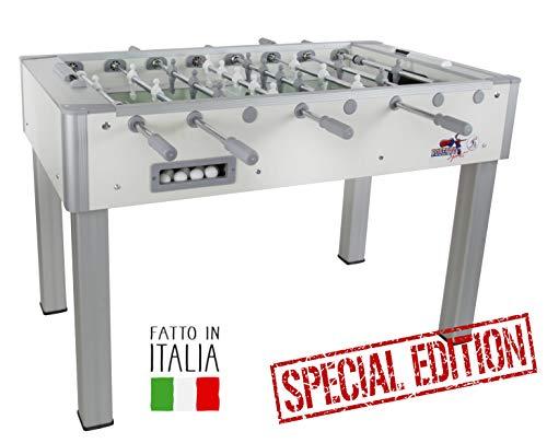 Roberto Sport Calciobalilla PRO OLIMPIC aste rientranti Colore Bianco Special Edition