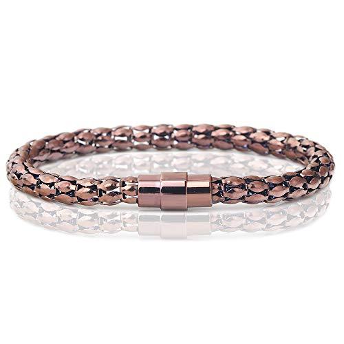 ZSCRL Edelstahl Mais Kette Armband, Titan Stahl Magnet Schnalle Gold Armband, Mode Frauen Schmuck 19 * 0,6 cm Kaffee
