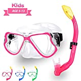 Kids Snorkel Set Dry Top Snorkel Mask with Carrying Bag Kids Youth Junior Snorkeling Gear for Boys and Girls Age from 5-13 Years Old