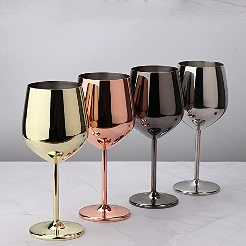 DOROCH Copas de Vino 304 Cubiletas de Vino Tinto de Acero Inoxidable, 500 ml Jugo de Grado alimenticio Drink Coblet Spatters Party Barware Herramientas de Cocina (Color : Silver 1 pc)