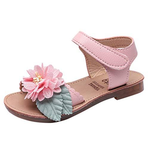 Riou Niña Niño Zapatos Sandalias Verano Velcro Flores Zapatos Casuales Zapatos de Princesa Solos Frescos Ajustable Antideslizante Bebe Chicas Zapatos Calzado Fiesta Rosa