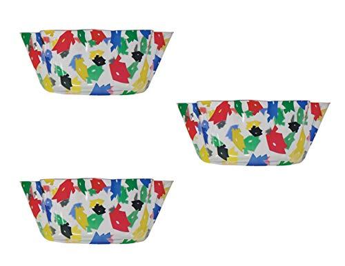 Graduation Theme Plastic Multicolor Grad Hat Snack/Serving Bowl Bundle - Set of 3-8 Inch Fluted