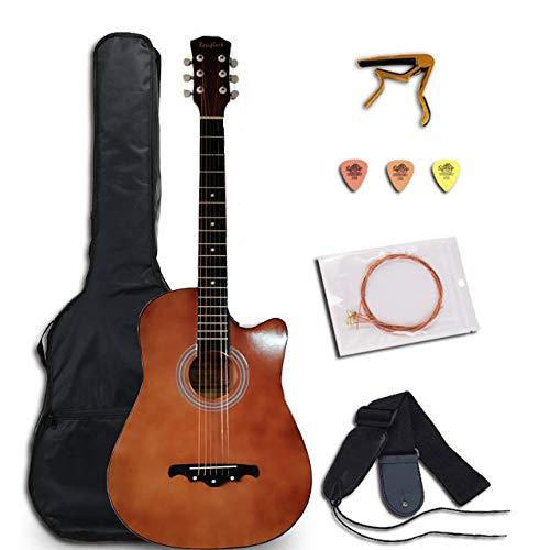 LOIKHGV Gitarre- 38/41 Zoll Gitarre Akustische Folk Gitarre für Anfänger 6 Saiten Linde mit Sätzen Schwarz Weiß Holz Rot Gitarre, Russische Föderation