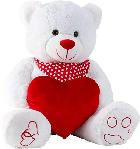 Lifestyle & More Riesen Teddybär Kuschelbär XXL 100 cm groß weiß mit Herz Plüschbär Kuscheltier samtig weich - zum liebhaben