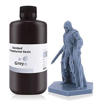 ELEGOO 3D Printer Rapid Resin, 405nm LCD UV-Curing Resin Standard Photopolymer Resin for LCD 3D Printing Grey 1000G