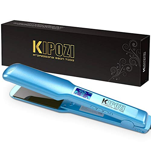 KIPOZI Pro 1.75 Inch Wide Hair Straightener, Nano Titanium Flat Iron for Hair, Heats Up Instantly, Dual Voltage Hair Straightening Irons(Blue)