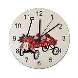 Reloj de Pared Redondo de Carro Rojo de Juguete de Santa Flyer de Cualquier Color, Relojes silenciosos rústicos, decoración del hogar de la cabaña del Campo