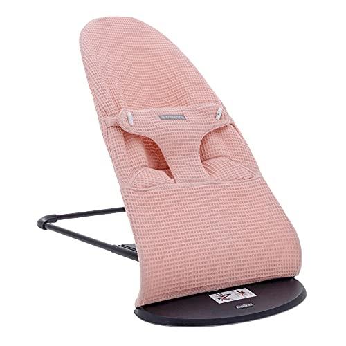 Funda para hamaca de bebé en tejido de wafle es compatible con la hamaca Babybjorn y se puede quitar y poner de manera sencilla para poder lavarla (Dusty Pink)