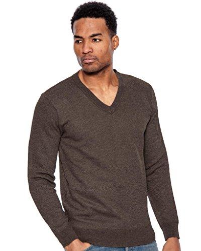 True Rock Men's Basic Long Sleeve V-Neck Sweater-HeatherBrown-Large