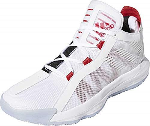 adidas Dame 6, Scarpe da Ginnastica Unisex-Adulto, Ftwr White/Scarlet/Core Black, 43 1/3 EU