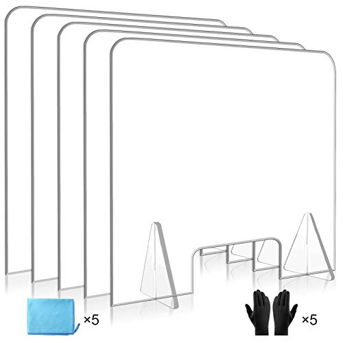 Sneeze Guard for Counter, 5-Pack Freestanding Plexiglass Table Barrier, Non-Bending Acrylic Plastic Desk Shield with Transaction Window for Retail, Office, Countertop, 24'' x 24'