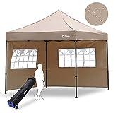 Sekey 3x3m Pavillon Faltpavillon 100% Wasserdicht für Garten Festival, mit 2 Seitenteilen, Taupe