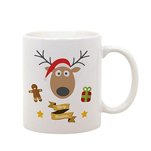 Tazza Mug in Ceramica Merry Chritsmas - Buon Natale - Babbo Natale - Renna - Idea Regalo