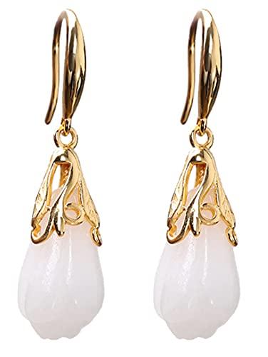 CHXISHOP Pendientes para Mujer 925 Sterling Silver Gold-Chapado Hetian Jade Pendientes, Pendientes de Hoja de bambú de Hebilla Redonda, Día de la Madre Regalo