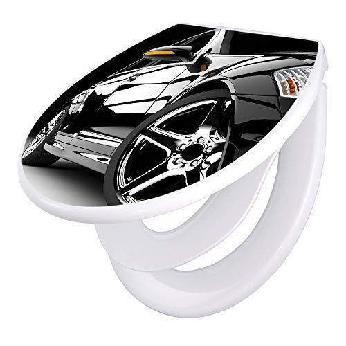 banjado Familien WC Sitz mit Absenkautomatik | Toilettendeckel mit Kindersitz | Klodeckel weiß | Toilettensitz mit Soft Close | 44 x 37 cm WC Deckel mit Motiv Luxus Car